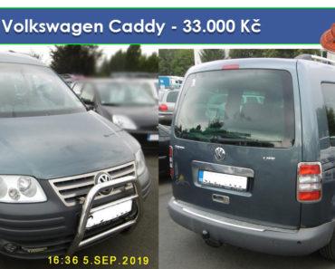 30.10.2019 Dražba automobilu Volkswagen Caddy. Vyvolávací cena 33.000 Kč, ➡️ ID652730