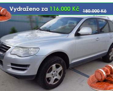 Zisková Dražba Volkswagen Touareg - vydraženo jen za 116.000 Kč