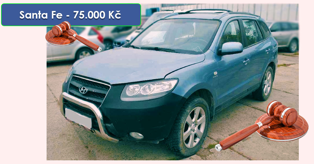 Do 18.11.2019 Aukce automobilu Hyundai Santa Fe 2,2 CRDI 4WD. Vyvolávací cena 75.000 Kč, ➡️ ID663286