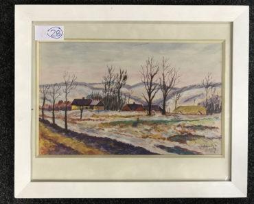 """29.1.2020 Dražba umění (Obraz """"Ves v zimě"""" 29x49 cm). Vyvolávací cena 300 Kč, ➡️ ID667821"""