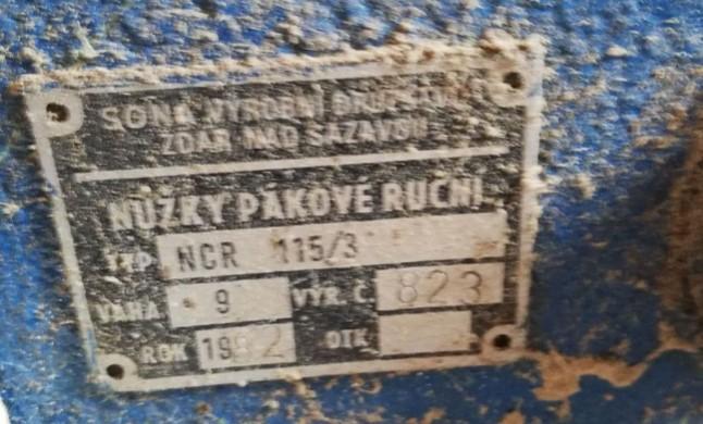 13.1.2020 Dražba stroje Pákové nůžky NCR 115/3. Vyvolávací cena 500 Kč, ➡️ ID670653