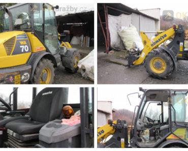 13.5.2020 Dražba traktoru - nakladače KOMATSU WA 70 + vidlice. Vyvolávací cena 302.500 Kč, ➡️ ID699549