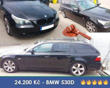 2.7.2020 Dražba automobilu BMW 530D. Vyvolávací cena 24.200 Kč, ➡️ ID714864