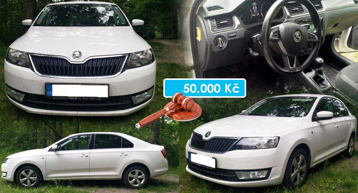 16.7.2020 Dražba automobilu Škoda Rapid. Vyvolávací cena 50.000 Kč, ➡️ ID718996