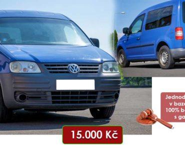 21.8.2020 Dražba automobilu VW Caddy. Vyvolávací cena 15.000 Kč, ➡️ ID738404