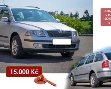 21.8.2020 Dražba automobilu Škoda Octavia. Vyvolávací cena 15.000 Kč, ➡️ ID738396