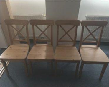 23.9.2020 Dražba nábytku (Dřevěné židle značky Ingolf, 4 ks). Vyvolávací cena 800 Kč, ➡️ ID738333