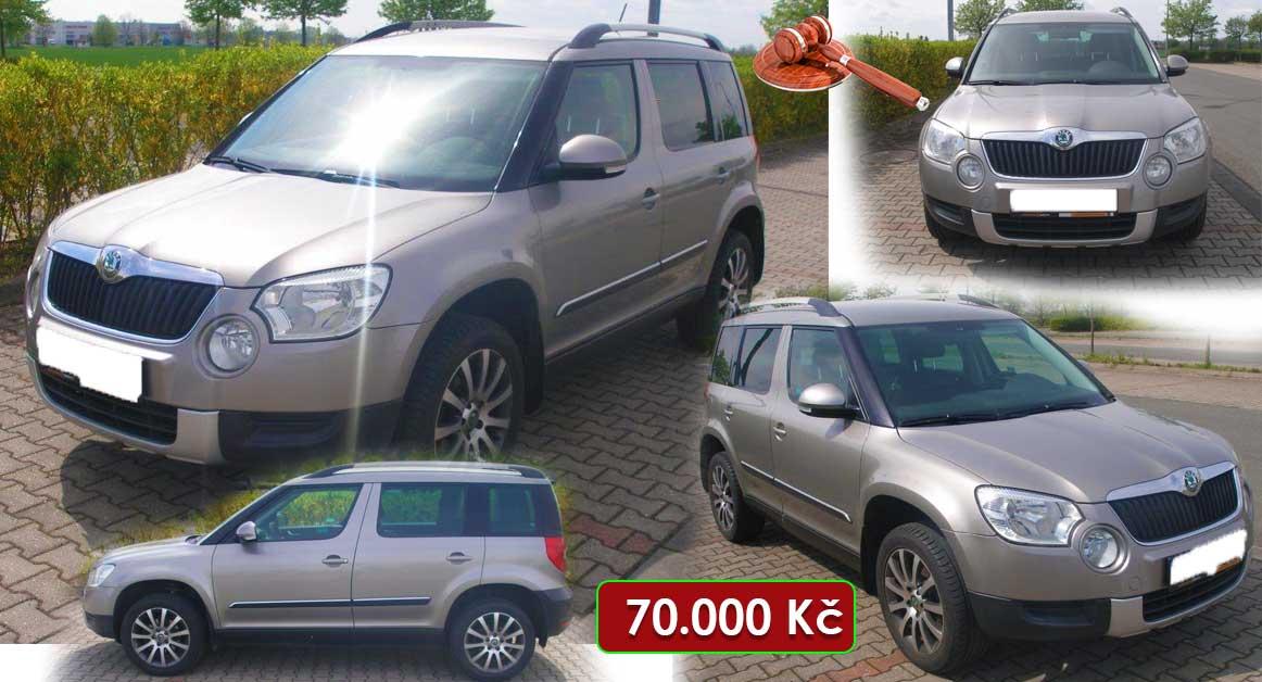 30.9.2020 Aukce automobilu Škoda Yeti 2.0 TDI. Vyvolávací cena 70.000 Kč, ➡️ ID740624