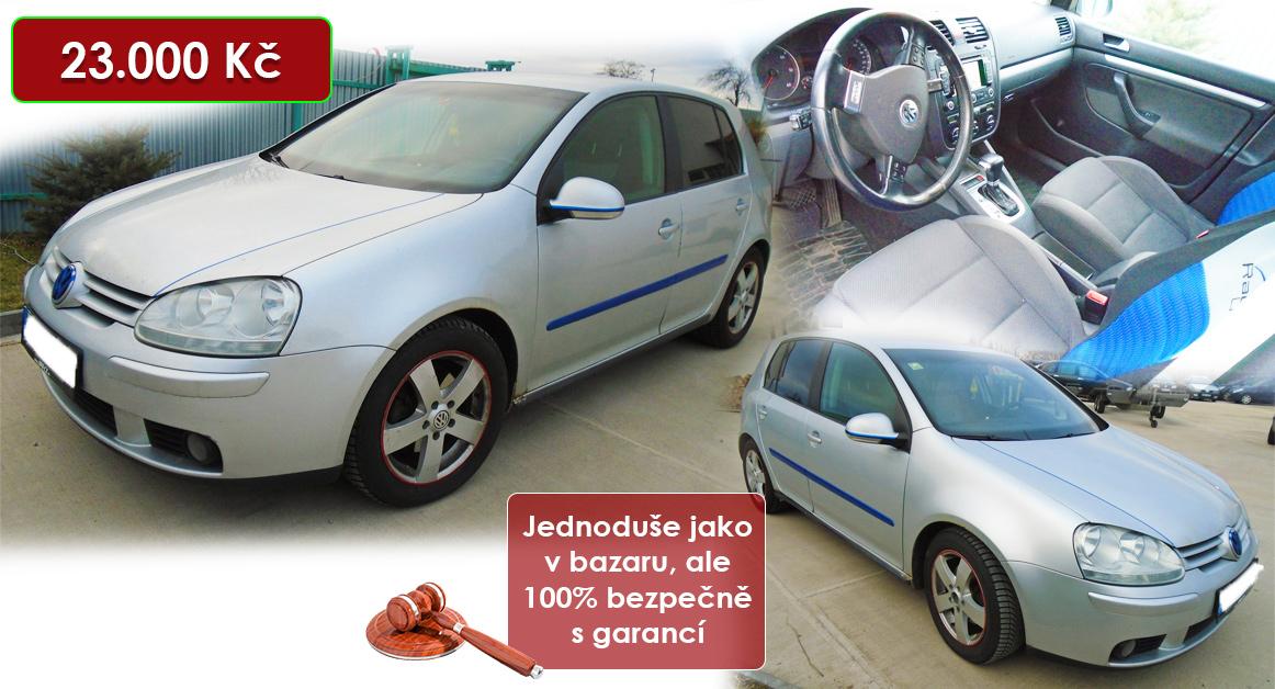 29.9.2020 Dražba automobilu VW Golf TDI. Vyvolávací cena 23.000 Kč, ➡️ ID737198