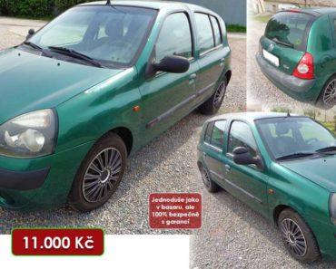 10.11.2020 Dražba automobilu Renault Clio. Vyvolávací cena 11.000 Kč, ➡️ ID754421