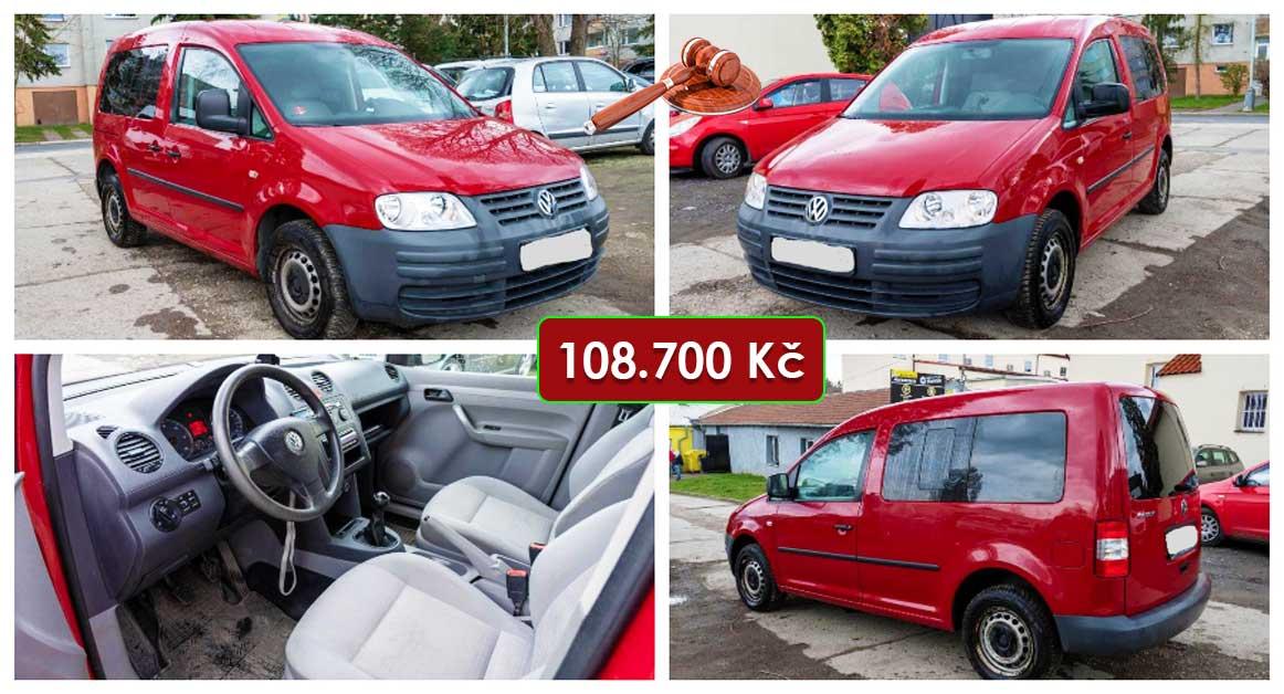 20.5.2021 Dražba automobilu VW Caddy 1.9 TDi. Vyvolávací cena 108.700 Kč, ➡️ ID798475
