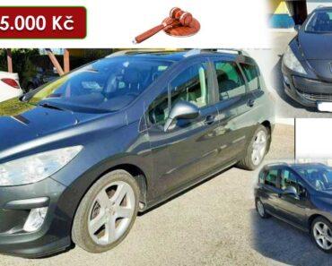 13.5.2021 Aukce automobilu Peugeot 308. Vyvolávací cena 25.000 Kč, ➡️ ID801611