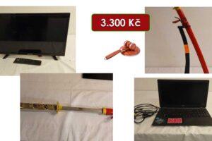 21.7.2021 Dražba elektroniky (Televizor, notebook, meč - atrapa). Vyvolávací cena 3.300 Kč, ➡️ ID809172