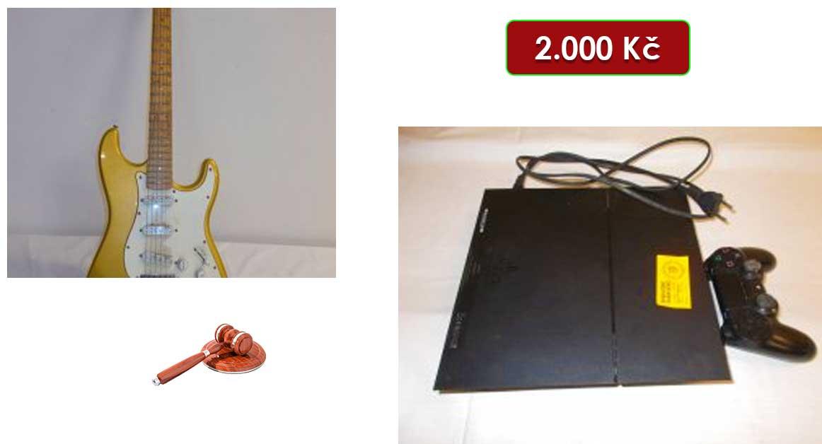21.7.2021 Dražba elektroniky (Elektrická kytara a Play Station). Vyvolávací cena 2.000 Kč, ➡️ ID809179