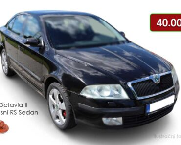 Do 18.8.2021 bude probíhat aukce auta Škoda Octavia RS, vyvol. cena 40.000 Kč