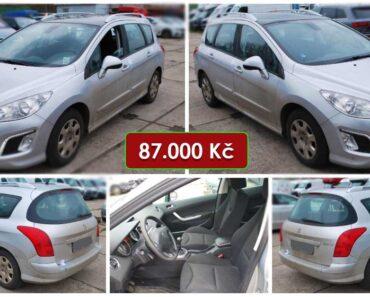 7.8.2021 Dražba automobilu Peugeot 308 SW. Vyvolávací cena 87.000 Kč, ➡️ ID811537